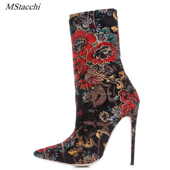 Mstacchi Big Size Women's Stretch Embroidery Flower Boots Pointed Toe High Heel Ankle Boots Brand Designer Short Booties Shoes
