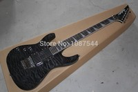Free Shipping wholesale flame maple wood neck through left hand electric guitar Jackson Carbon Black Electric Guitar