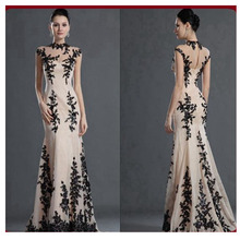 Mode Kappen-hülsen Abendkleider Lange Mermaid Champagne Chiffon Mit Black Lace Sheer Bodenlangen Abendkleid Abendkleider