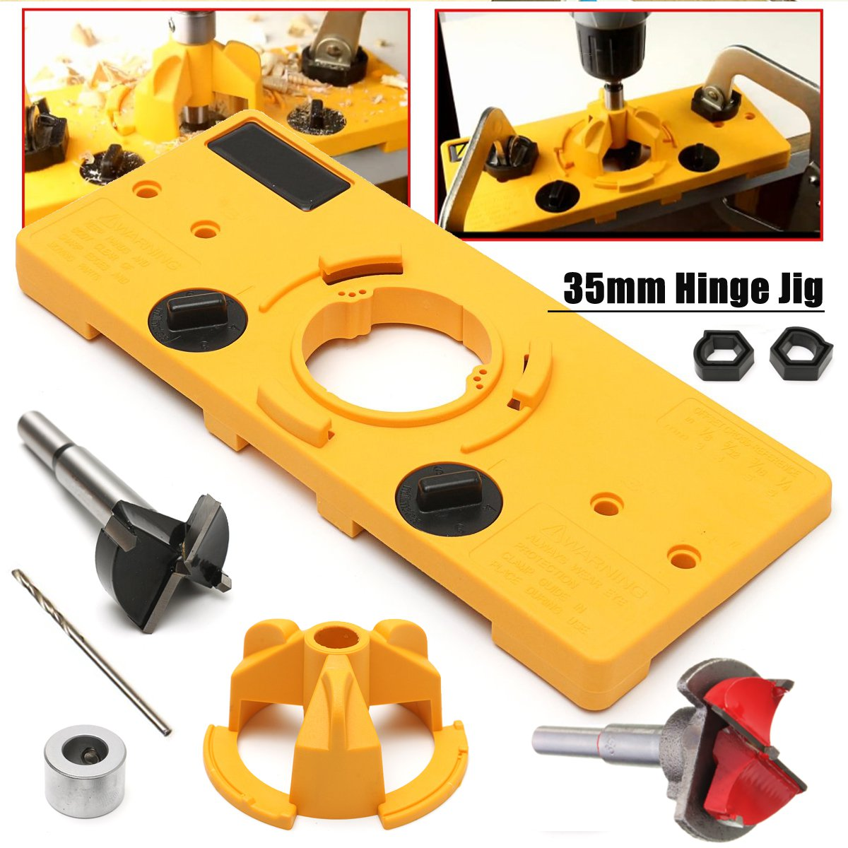 35MM Carbide Tipped Hinge Cutter Boring Drill + 35mm Hinge Drilling Jig + 35mm Forstner Bit woodworking tool drill bits 1pc cemented carbide 35mm hole saw woodworking core drill bit hinge cutter boring forstner bit tipped drilling tool high quality
