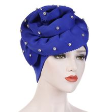 20e8f578297d3e 2019 Women Elegant Flowers Muslim Hat With Gemstone Hooded Cap Turban Hair  Accessories Autumn and Winter