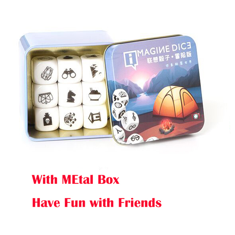 9pcs lots Story Dice Puzzle Cube game Telling a story cubes Acrylic Dice for family fun