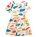 INS горячей продажи Летней девушки граффити платье одеяние fille enfant европейский и Американский Стиль новорожденных девочек милый ребенок платье наряды