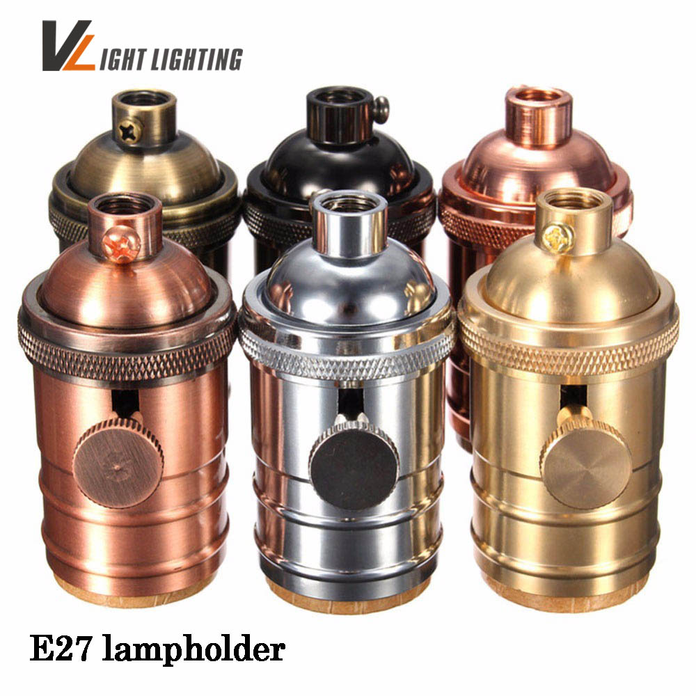 Vintage Edison Lamp Socket E27 Screw Bulb Base copper Lamp Holder Industrial Retro Pendant Fittings Lustre Lampholders Fixture