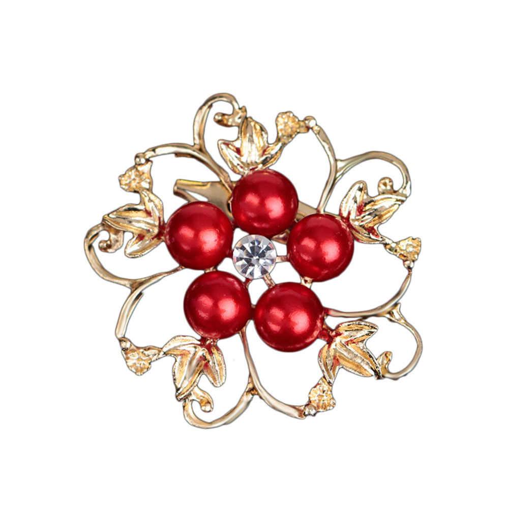 2018 Nuovo 1 pz forma di Fiore Brillante Bella CZ sfera di strass Spilla di perle per le donne pin accessori abito da sposa regali