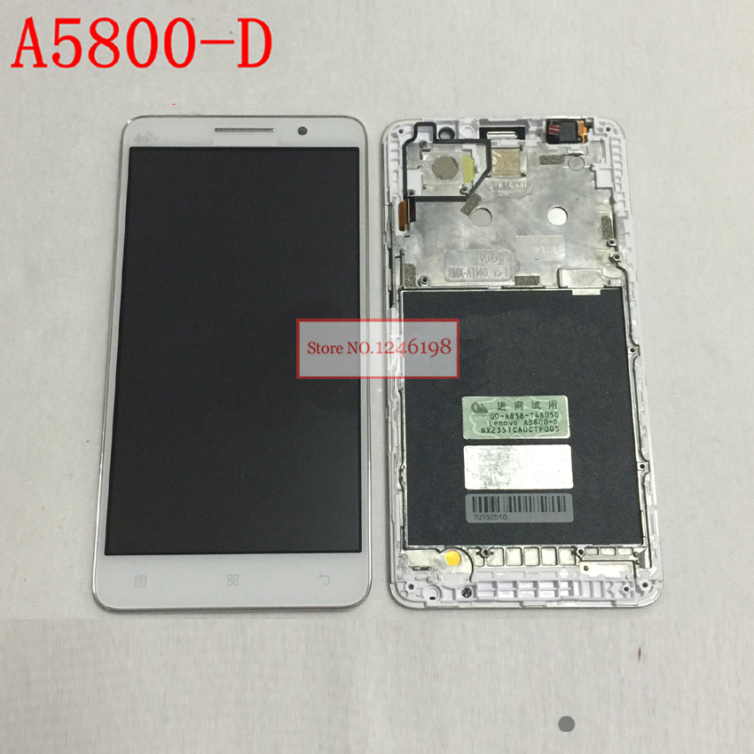 Подробнее о 100% Warranty Black / White LCD Display With Touch Screen Digitizer Assembly + Frame For Lenovo A5800-D A5800D cellphone Parts black 100