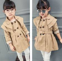 Retail 2016 Autumn New Girl dust coat Trench England Style Double breasted Belt Long Sleeve Coat Children Clothes 18782
