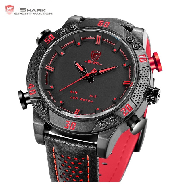 2d573f0a84f ... Sport Watch Brand Mens Military Quartz Red LED Hour Analog Digital Date  Alarm Leather Wrist Watches Relogio  SH261. Previous. Next