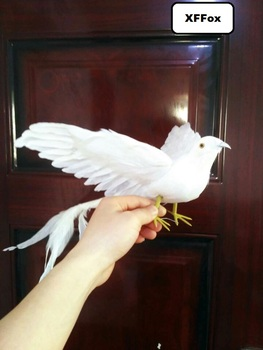 simulation wings Phoenix bird model foam& furs white long tail bird doll gift about 30x50cm xf0348