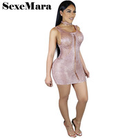 Backless perspective hollow out metal color knitted dress women sexy club mini bodycon dress summer pink beach tunic D35-AZ40