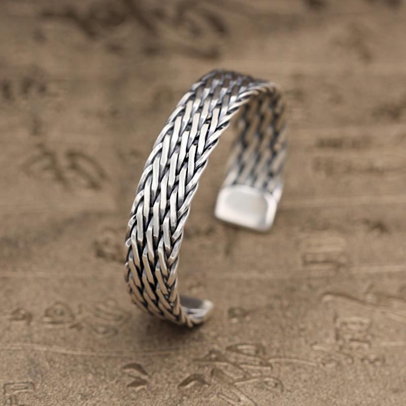 Solid Sterling Silver 925 Trip Strand Weave Cuff Bracelet Bangle Men Women Simple Design Handmade Craft