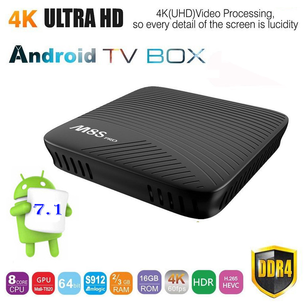 Android 7.1 UHD 4K H.265 DDR4 Octa Core S912 Smart TV BOX M8S PRO 2G / 3GB RAM + 16GB Storage Bluetooth 4.1 HS 5G 11ac Wifi LAN 2gb ram 16gb rom android 6 0 smart tv box s912 octa core dual wifi uhd 4k zoomtak u plus