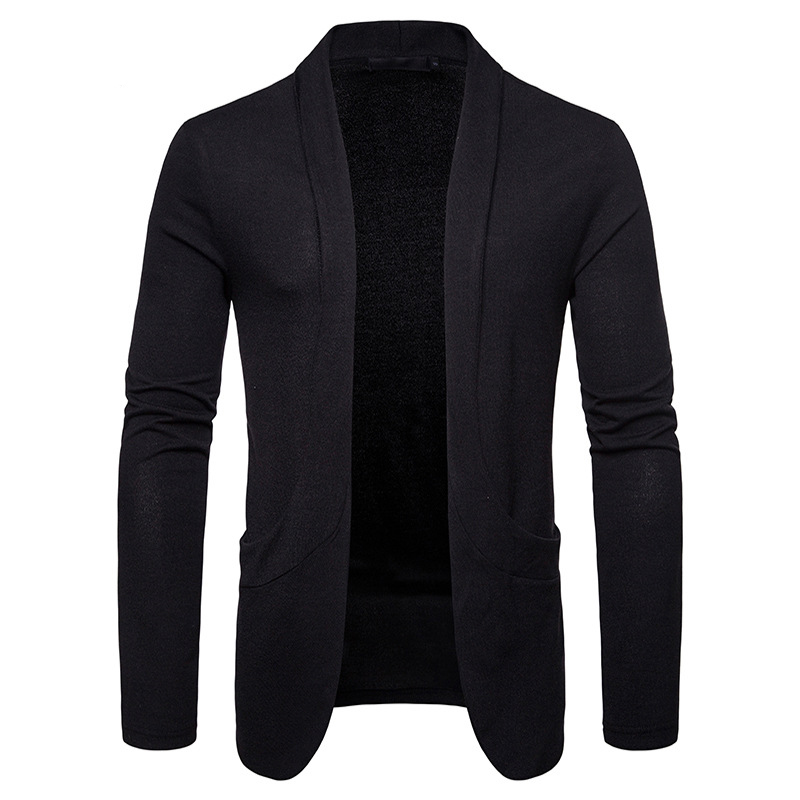 Men's Black Shawl Collar Sweater Cardigan Men 2018 Winter Knitted Sweater Men Slim Fit Casual Cardigans Sweaters Male Pull Homme