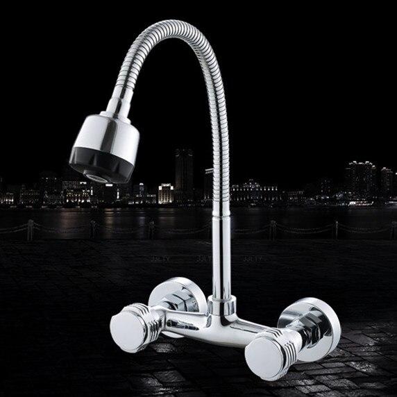 Livraison gratuite offre spéciale robinet d'évier de cuisine en cuivre avec robinet de cuisine mural par robinets d'eau de cuisine à double poignée