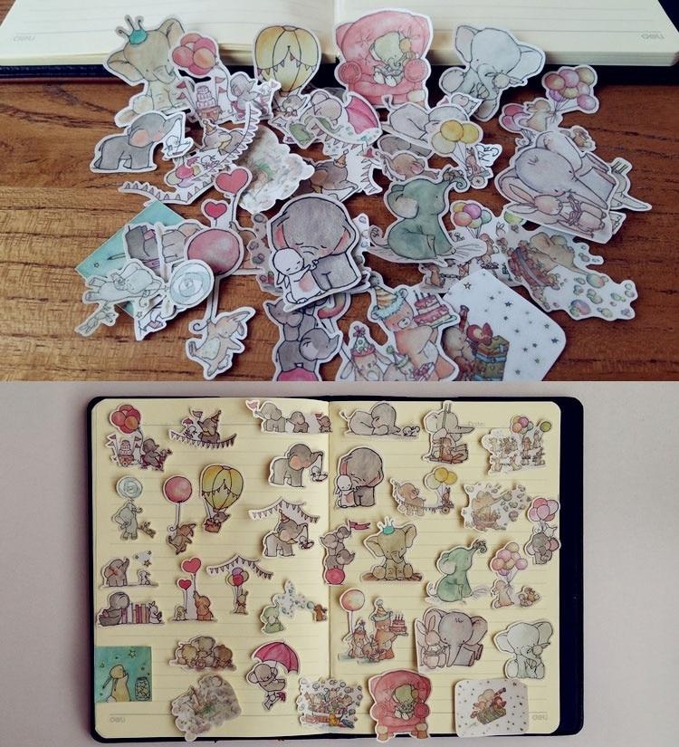 34 шт., декоративные наклейки в виде слона