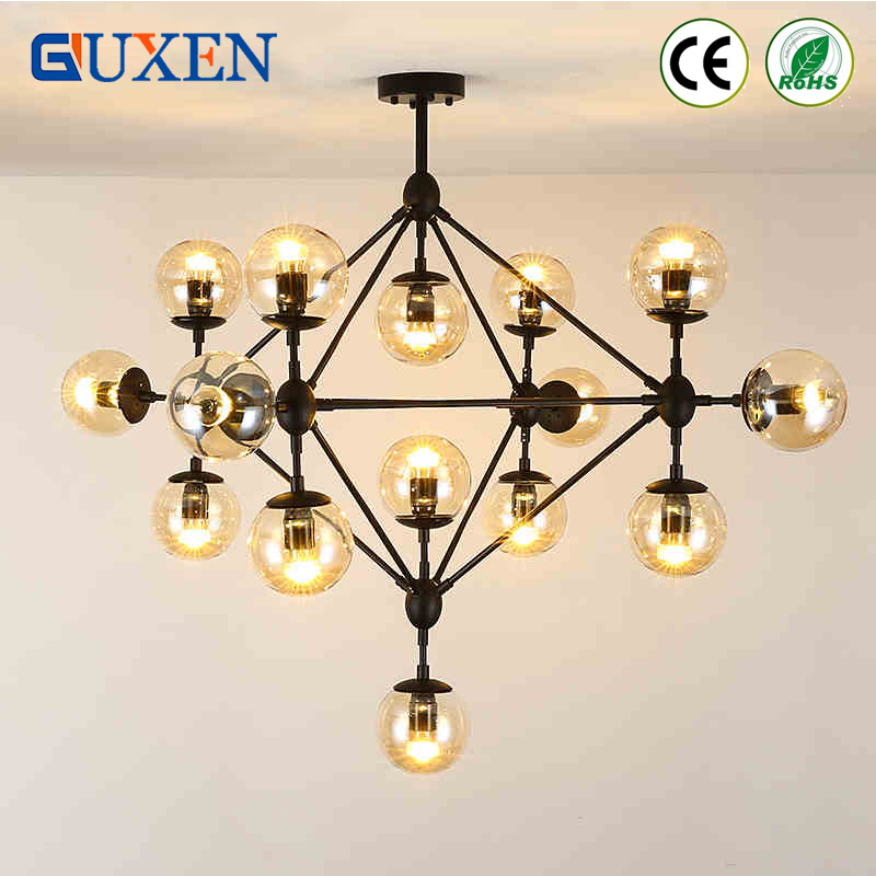 Magic Beans Pendant Lights DNA Lustres wrought iron industrial Cafe project lamps Nordic Art Deco glass ball MOD hanging lights nodic magic beans dna lustres pendant light modern wrought iron e27 led home hanglamp industrial cafe art deco project lamps