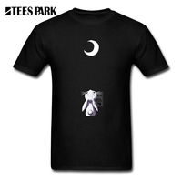 Manga Curta Camisa Masculina T Shirt Moon Bunny Man Crew Neck Short Sleeve T Shirts Costume