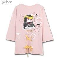 Lychee Harajuku Summer Women T Shirt Jesus Letter Print Lace Up Casual Loose Cartoon Short Sleeve