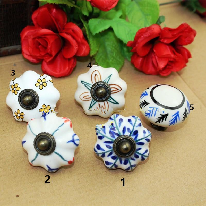 Vintage Furniture Handle Flower Head Ceramic Knobs and Handles Door Handle Cupboard Drawer Kitchen Pull Knob Furniture,40mm,1pc antique european furniture handles cabinet handle door drawer circular copper