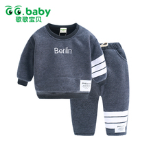 New Brand  Boys Sets Children's Winter Warm Long Sleeve Fashion Pullover Outfit Clothes Winter Top+Pants 2 pieces Warm Cotton