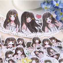 40pcs Self-made Cute girl / fashion girl Scrapbooking Stickers /Decorative Sticker /DIY Craft Photo Albums/LINE expression stick(China)