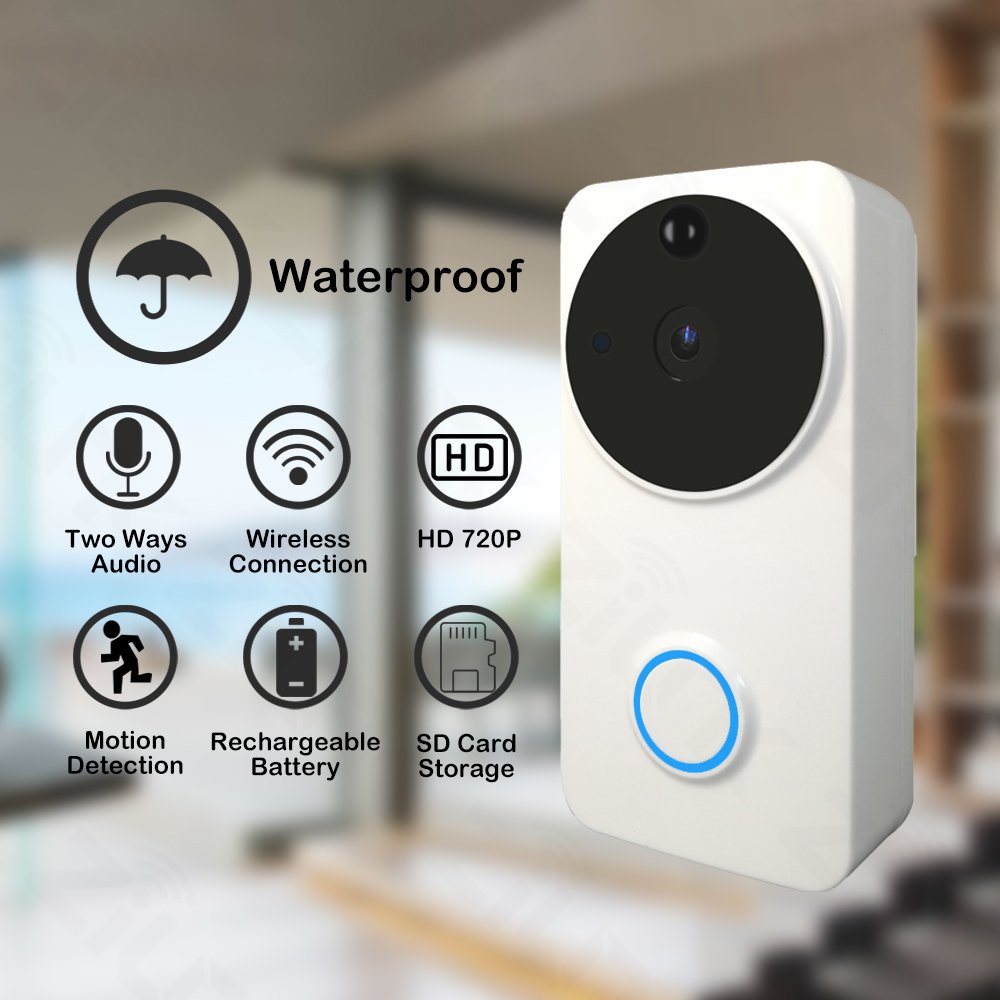 Cobell Wireless Wifi Doorbell 720P HD Waterproof Intercom Battery Video Door Phone Home Security Door Bell Camera IP IR Alarm