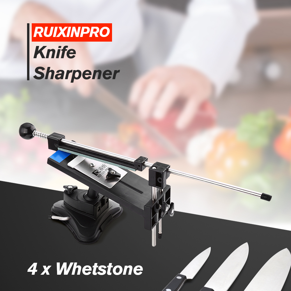 Afilador de cuchillos Ruixin Pro II todo hierro acero profesional Chef cuchillo afilador de cocina Sistema de afilado Fix-angle 4 Whetstone