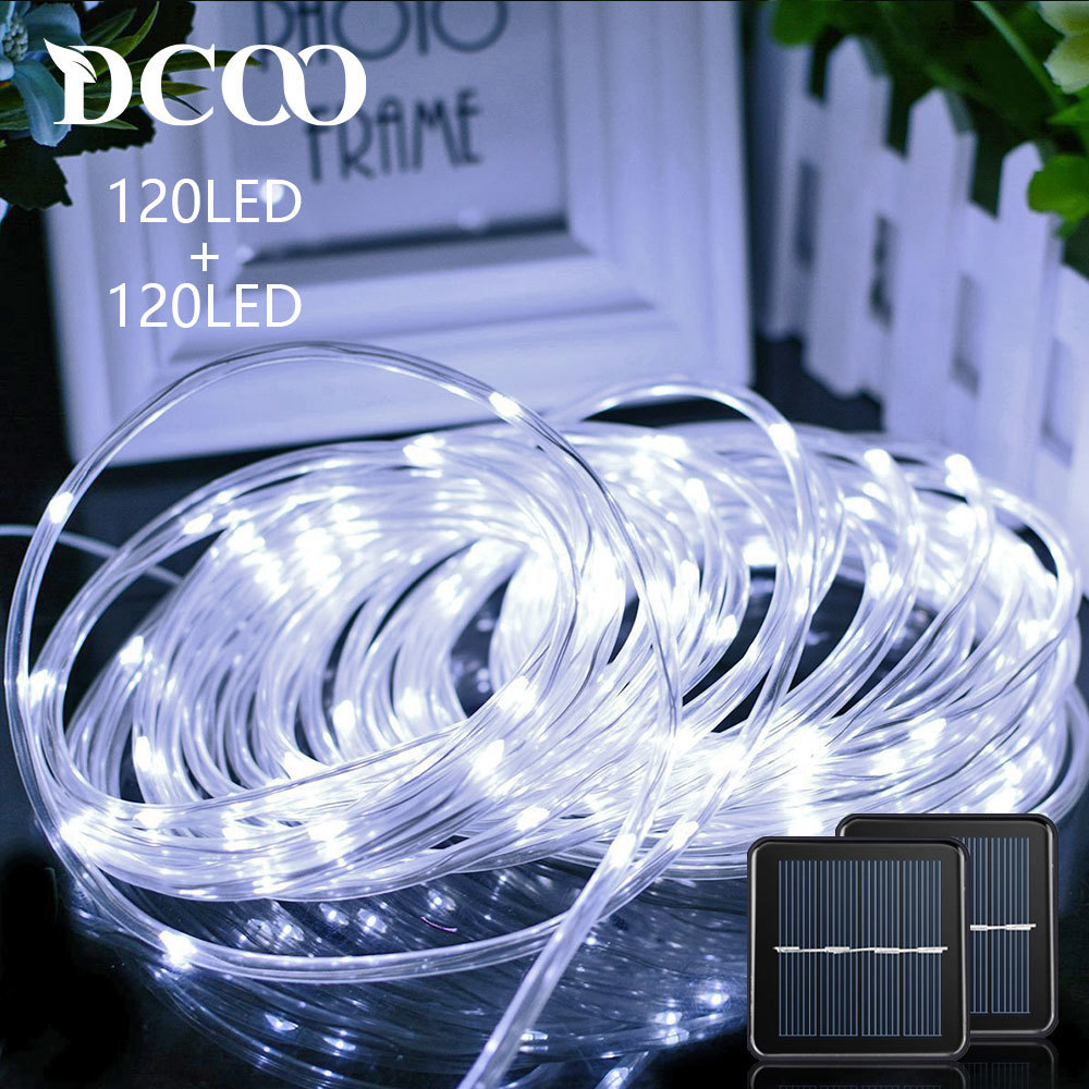 Solar Powered Rope lights 120 LEDs Holiday String Lights Outdoor Garden Party Lighting Rope String Lights Waterproof 2 Pieces ...