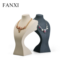 FANXI Resin Portrait with Beige &Dark Grey Color Necklace Display Bust Pendant Holder Jewelry Display Necklace Exhibitor