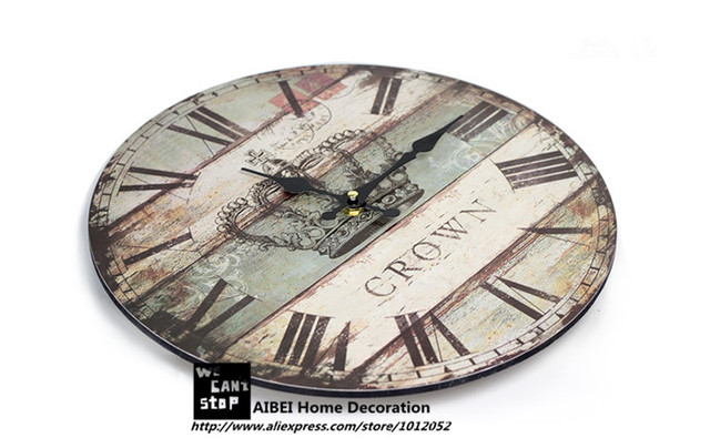 AIBEI-Nostalgia British Style Wood coloured drawing Crown Wall Clocks Fashion Living Room Home Decor Gifts Crafts 35*35CM