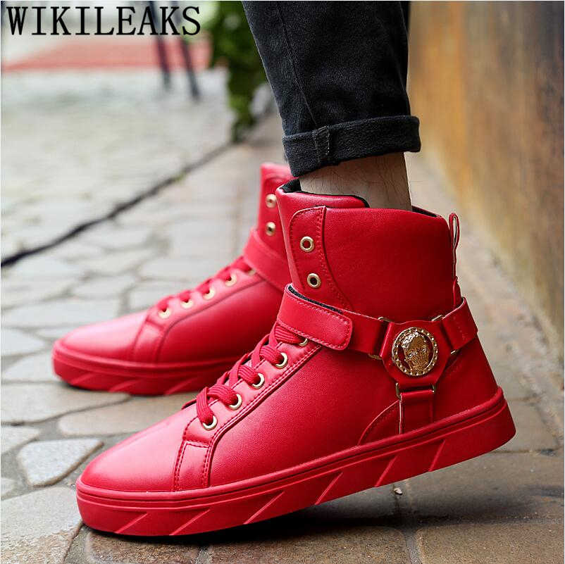 98ac8a6bd75 Высокие кроссовки мужчин череп мужская обувь роскошные Брендовые мужские  кроссовки дизайнерская обувь золотые ботинки хип-