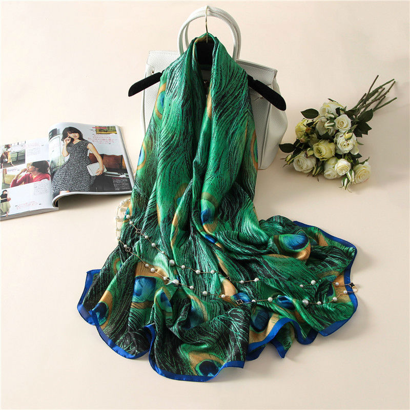 2020 Latest Lovely Animal Green Peacock Feather Silk Shawl Scarf Spain Luxury Brand Beach Bandanas Foulard Sjaal Wrap Hijab Caps