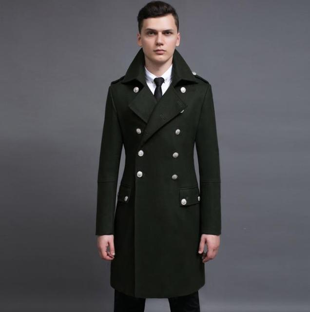 9080324ed7e Vintage casual slim long wool coat men jackets and coats mens double-breasted  wool overcoats winter trench jacket Army Green