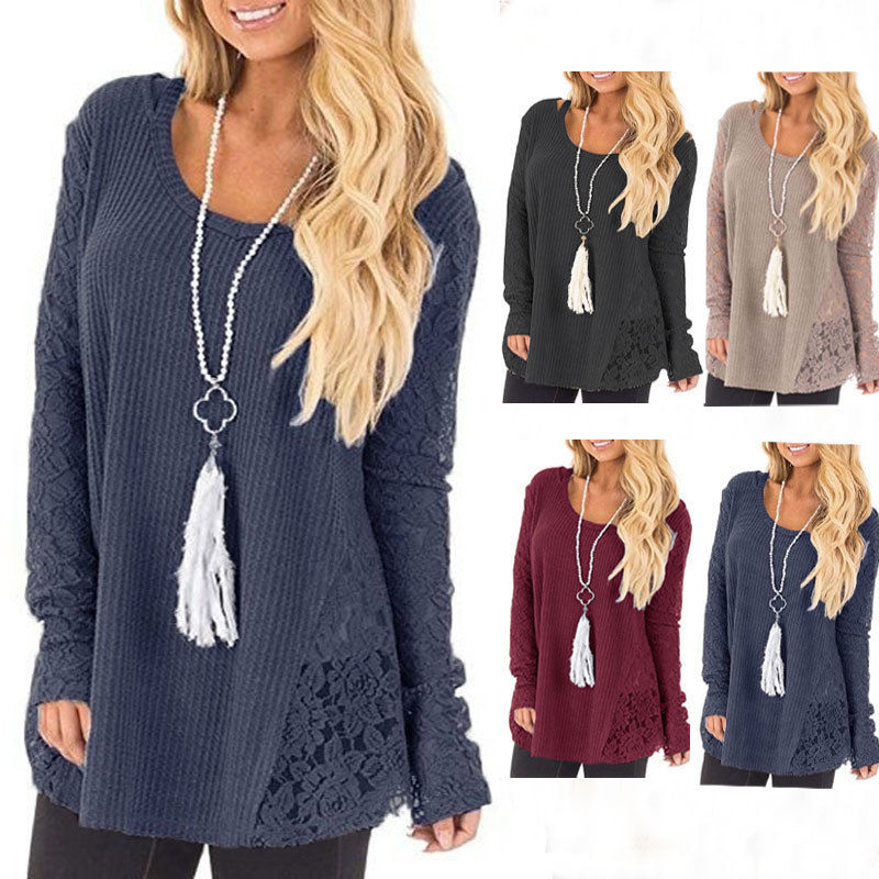 Women Sweaters Plus Size Fashion Long Sleeve Kintted Clothes Autumn O-Neck Lace Patchwork Casual Loose Sweater Pullovers