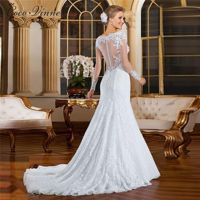 Europe Mermaid Wedding Dress 2021 New vestidos de noiva Pearls Beading Embroidery Illusion Lace Mermaid Wedding Dresses W0021 3