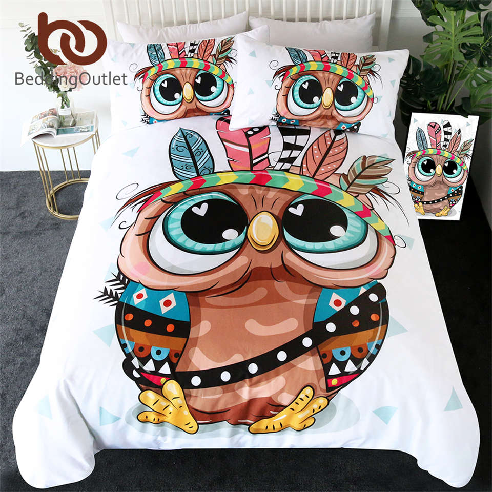 BeddingOutlet Cartoon Owl Bedding Set for Kids Tribal Feathers Duvet Cover Aztec Geometric Bed Set Colorful Bird Home Textiles
