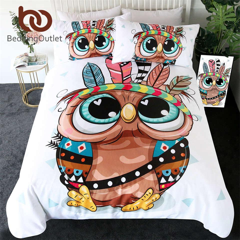 BeddingOutlet Cartoon Owl Bedding Set for Kids Tribal Feathers Duvet Cover Aztec Geometric Bed Set Colorful Bird Home Textiles(China)