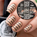 Naces PRETTY Alphabet Theme Stamping Template Geometry Line Lettern Feather Nail Art Stamp Image Plate Need Stamping Polish