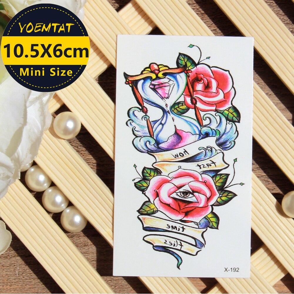 1 Piece Temporary Tattoo Sticker Water Transfer Wing: 1 Piece Waterproof Temporary Tattoo Sticker Rose Hourglass