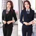 OL de las mujeres trajes de negocios pantalones formales de las mujeres trabajan desgaste señora de la oficina traje de negocios conjunto uniforme femenino