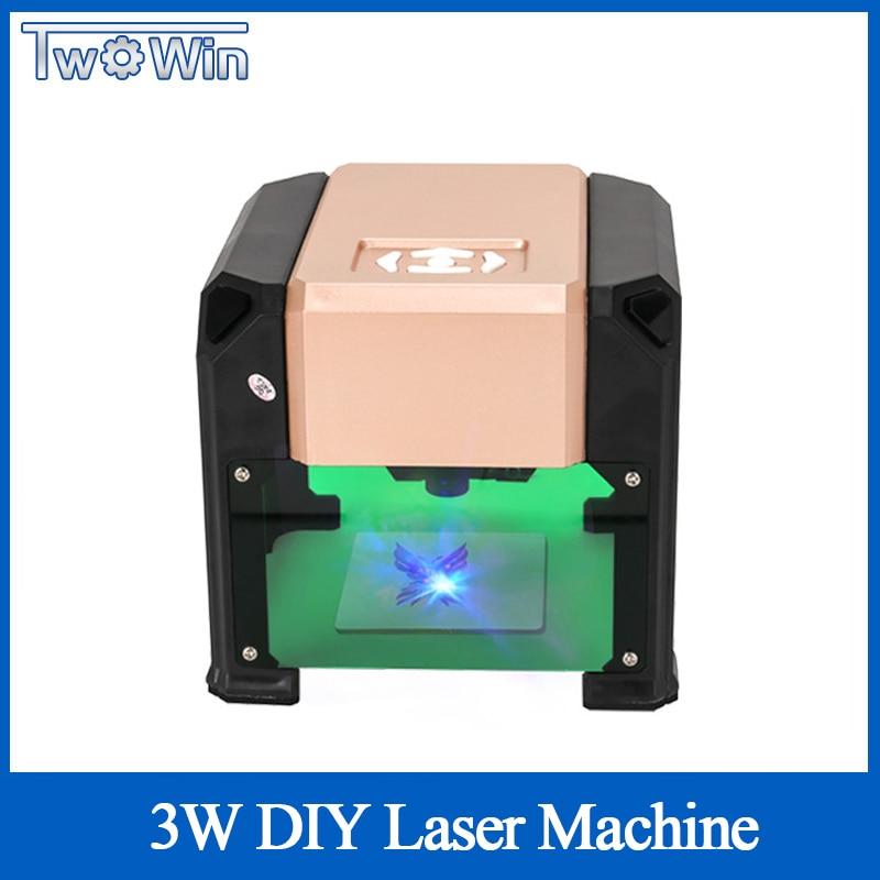 3000mw Automatic Type High Speed Laser Engraving Machine USB DIY Carving Handicraft Wood Engraver Logo Printer Burning Tools