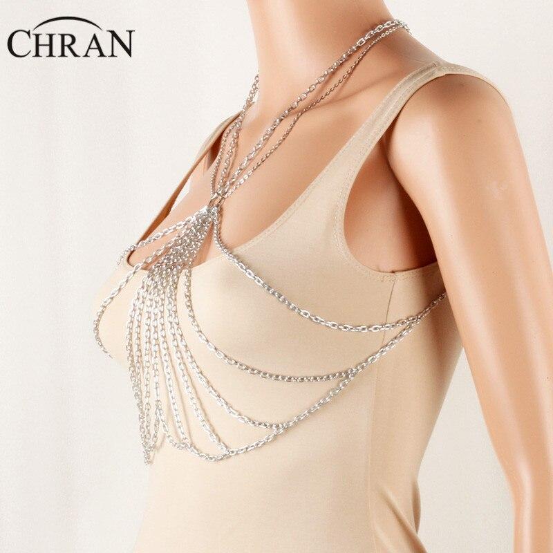 Chran Women Chain Bra Bralette Top Dress Decor Chainmail EDC Outfit Harness Necklaces Festival Wear Ibiza Sonar Jewelry CRBJ120