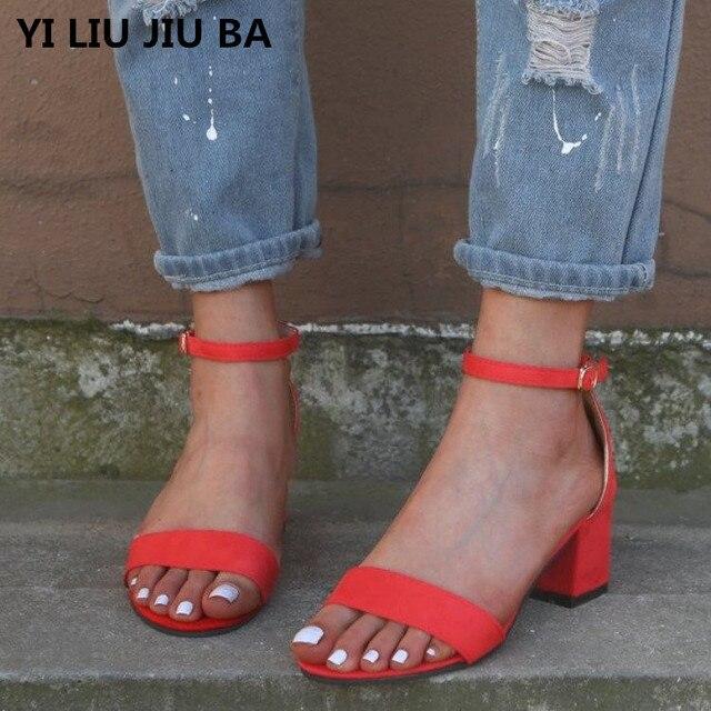 f7aac228 Nuevo verano sandalias de las mujeres zapatos tacón alto señoras clásicos  plataforma peep Toe Tacón cuadrado boda bombas Sandalias mujer ** 995