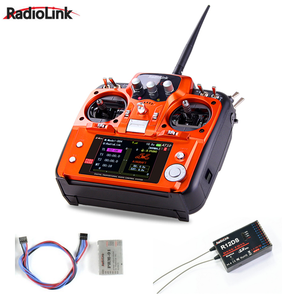 RadioLink AT10 II AT10II RC Transmitter 2.4G 10CH Remote Control System with R12D II Receiver for RC Airplane Helicopter 2 4ghz 10ch radiolink at10 ii upgraded at10 rc transmitter with r12ds receiver prm 01 for rc camera drone airplane quadcopter