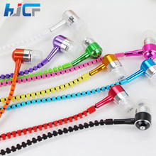 New 3.5mm In-Ear Metal Bass Zipper Earphones Sports Music Wired Earbud Headset With Microphone For iphone Samsung