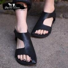 Artmu/оригинальные летние новые женские босоножки на плоской подошве, удобная женская обувь ручной работы из натуральной кожи, цвет черный, серый, 1060010