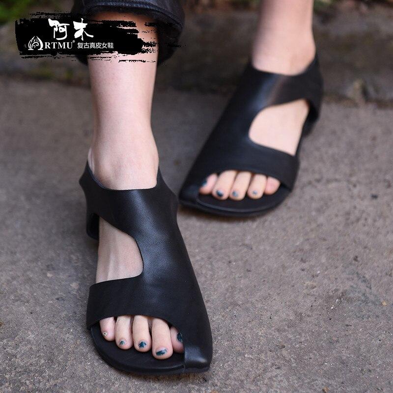 Artmu الأصلي الصيف جديد مسطحة القاع النساء الصنادل جلد طبيعي اليدوية دافئ أحذية نسائية أسود/رمادي 1060010-في الكعب المنخفض من أحذية على  مجموعة 1