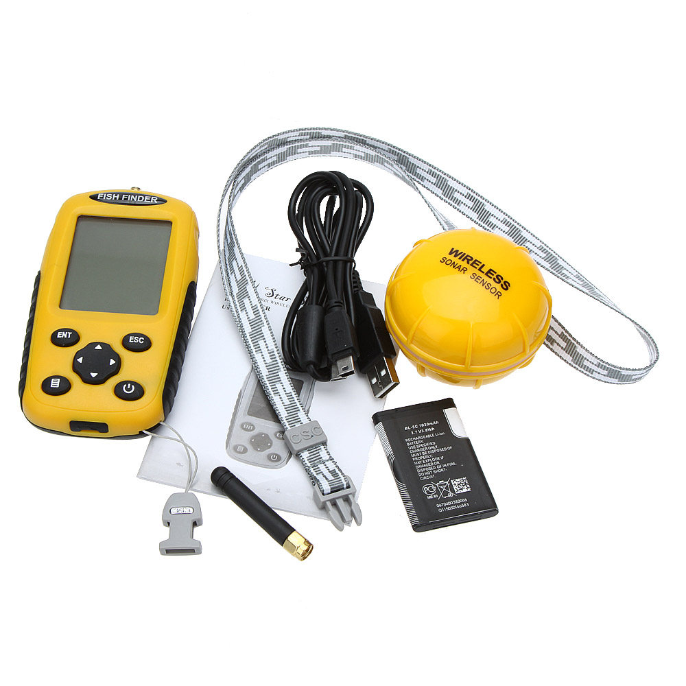 Dot Matrix LCD Rechargeable Wireless Fish Finder 2.0 to 120ft Depth Fishing Sonar Sensor Sounder Alarm Transducer Fishfinder