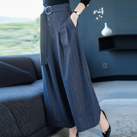 2XL Brand Wool Blend Nine Trousers 2019 Spring Fall Women's Trousers New OL Commuter Pure Color Pant Loose Wide Leg Pants Female