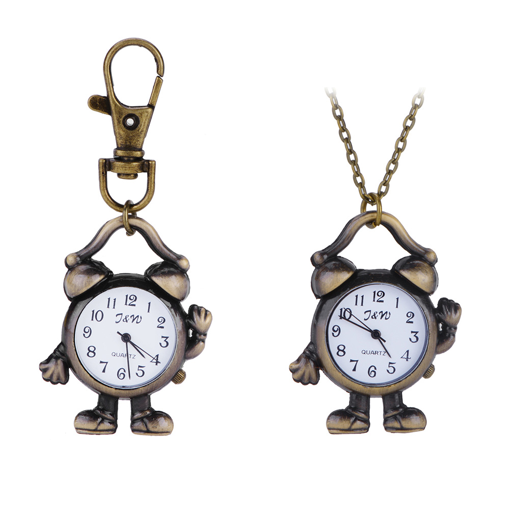Watches Professional Sale New Fashionable Ladies Watch Vintage Robot Clock Quartz Watches Pocket Watch Key Ring Necklace Timer Good Taste
